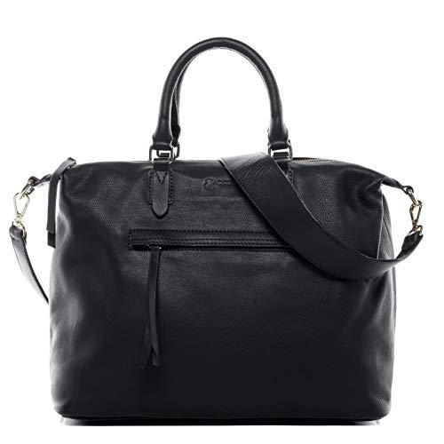 Baccini® Borsa a mano vera pelle PAULINE borsello borsetta manico tracolla donna cuoio nero