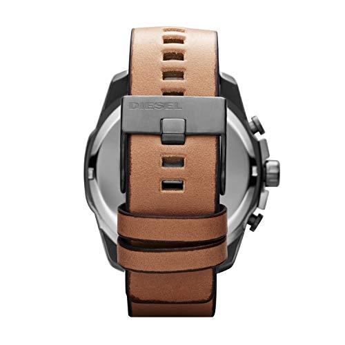 Men's DZ4280 Mega Chief Gunmetal Brown Leather Watch