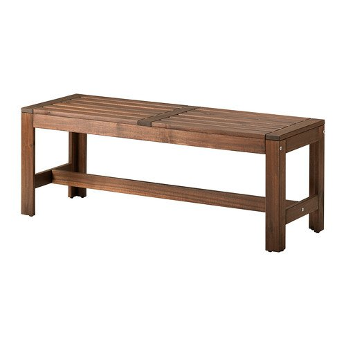 IKEA APPLARO - Banco, al aire libre, marrón manchada - 114 cm