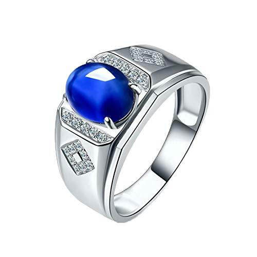 Bishilin Alianzas Oro Blanco 750 Clásico Bandas de Boda Azul Zafiro Diamante Anillo de Compromiso de Boda Ajuste Cómodo Forma Ovalada Anillo de Boda de Compromiso Plata Azul