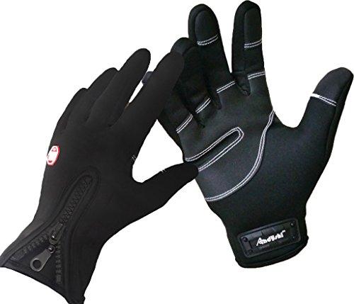 ADS Herren Fahrradhandschuhe, für den Winter, Touchscreen-kompatibel Größe L schwarz - schwarz