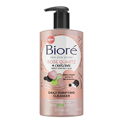 Biore Rose Quartz and Charcoal Daily Purifying Face Wash Cleanser for Oily...