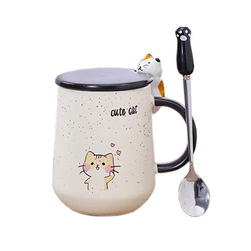 Keramik Kaffeebecher, Süß Katze Handgemacht Teetassen, mit Deckel und Edelstahl Stahllöffel, Einzigartig Heiß Schokolade Neuheit Becher, Weihnachten, Geburtstag zum Mädchen Frauen (Pink) (Gelb)