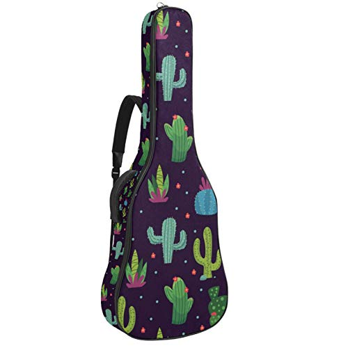 Gitarrentasche mit Reißverschluss, wasserdicht, weich, für Bassgitarre, Akustik- und klassische Folk-Gitarre, bauchiger Kaktusgrün, marineblauer Hintergrund