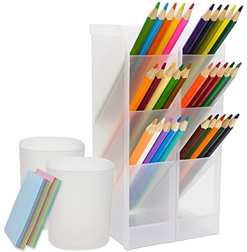 Qualsen 4 piezas organizador de escritorio, Organizador de Pluma, lapices boligrafo de Almacenamiento para oficina, escuela, suministros para el hogar, blanco translúcido