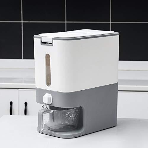 Caja de almacenamiento de arroz para el hogar Medición inteligente Tanque de arroz automático Cubo de almacenamiento de granos a prueba de insectos y humedad Gris