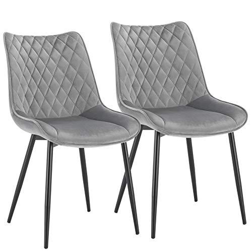 WOLTU® Esszimmerstühle BH209hgr-2 2er Set Küchenstuhl Polsterstuhl Wohnzimmerstuhl Sessel mit Rückenlehne, Sitzfläche aus Samt, Metallbeine, Hellgrau