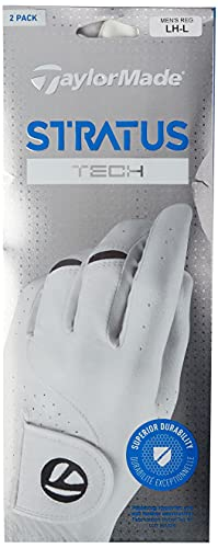 TaylorMade Men's Stratus Tech Golf Glove (2 Pack), White, Large