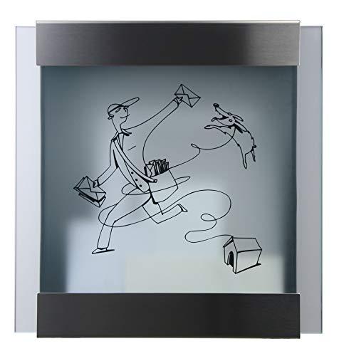 Keilbach, Briefkasten glasnost.glass.michl-luz, Edelstahl/bedrucktes Sicherheitsglas, hochwertige Verarbeitung, Klassiker seit 2000, Design Award: FORM 2001