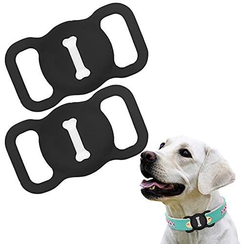 Funda de Silicona Compatible con el Collar para Mascotas Airtag, Funda Protectora Airtag, Estuche buscador GPS portátil Ajustable para Collar de Perro y Gato 2 Piezas (2-Negro)