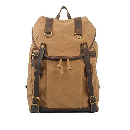 Fashion Ordinary Item Canvas And Leather Men's Large Capacity Casual Shoulder Bag Backpack With Velvet Bottom leather (Color : Brown, Size : S)