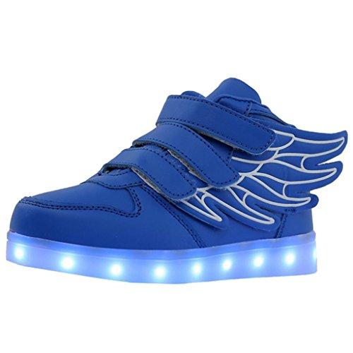 Homyl LED Sportschuhe Kinder Schuhe mit Flügel USB Aufladen 7 Lichtfarbe LED Leuchtend Sport Schuhe Turnschuhe - Blau, 30