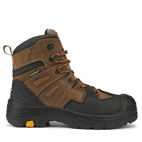 Rockrooster Woodland - Botas de trabajo impermeables para hombre, para construcción, paisajismo, mantenimiento, transporte y utilidades AK669, marrón
