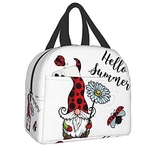 Gnome Ladybug - Lonchera aislada para mujeres/hombres reutilizables Hello Summer Lunch Tote Bolsas, perfecto para oficina, camping, senderismo, picnic, playa, viajes