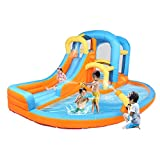 JOYMOR 5-in-1 Inflatable Water Slide Park, Bounce House w/Air Blower, Climbing Wall, Double Jump Area , Splash Pool, Water Gun, Water Slide Castle Outdoor Playhouse for Little Kids