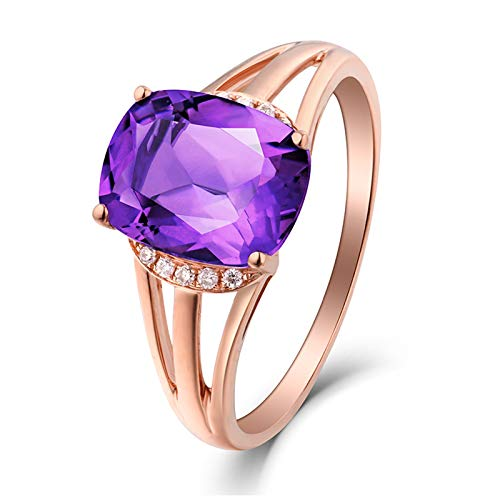 AueDsa Anillos Púrpura Oro Rosa Anillos Mujer Oro Rosa 18K Redondo Cojín Amatista Púrpura Blanca 1.73ct Anillo Talla 13,5