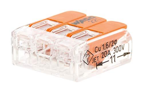 Lot de 10 mini bornes de connexion rapide à levier S221 pour fils souples et rigides - 3 entrées - Wago