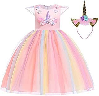 Baby Girls Rainbow Unicorn Tutu Dress Princess Fancy Dress Birthday Pageant Party Dresses Girls Christmas Halloween Pony Dreams Princess for Baby Girls & Kids for 3-12 Y,With Headband