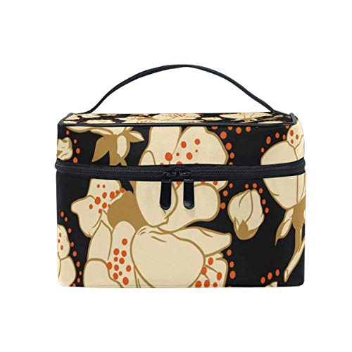 Vintage Japonais Fleur de Cerisier Fleur Motif Sac cosmétique Trousse de Toilette Voyage Maquillage étui poignée Pochette Multi-Fonction Organisateur pour Femmes