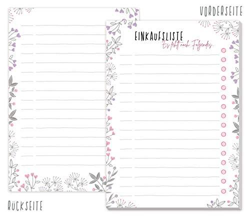A6 Einkaufsliste Block [Blumen] mit 50 Blatt zum Abreißen | Einkaufszettel Notizblock von Trendstuff by Häfft | So macht Einkaufen Spaß! Klimaneutral & nachhaltig