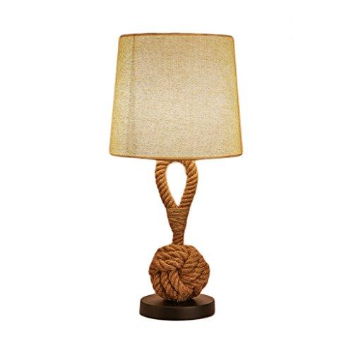 Lámparas de escritorio Lámparas de mesa y mesilla Lámpara de mesa europea de la guita del estilo retro, cubierta redonda hecha a mano del lino, lámpara de mesa creativa del hierro de la mesa de centro