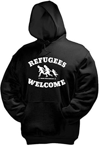 Racker-n-Roll Refugees Welcome Kapuzenpullover, schwarz, Druck weiß