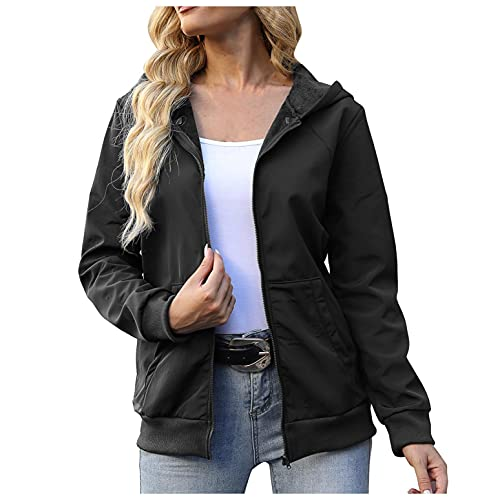 APOKIOG Chubasquero para mujer, tallas grandes, cortavientos, impermeable, cortavientos, chaqueta softshell, Negro , S