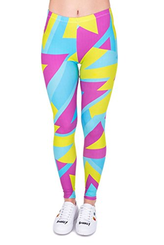 kukubird Printed Patterns Women's Yoga Leggings Gym Fitness Running Pilates Tights Skinny Pants Size 8-12 Stretchable-Neon Sport