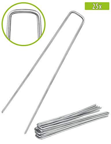 Balinco 25x Anti-ROST Erdanker   Bodenanker   Erdnägel aus verzinktem Stahl zur Befestigung von Unkrautvlies   Unkrautfolie   Gartenvlies   Zaun & Netz oder fürs Camping - (25, 250x25x4,1 mm)