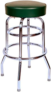 Richardson Seating Double Rung Backless Swivel Bar Stool with Chrome Frame and Seat, Green, 30