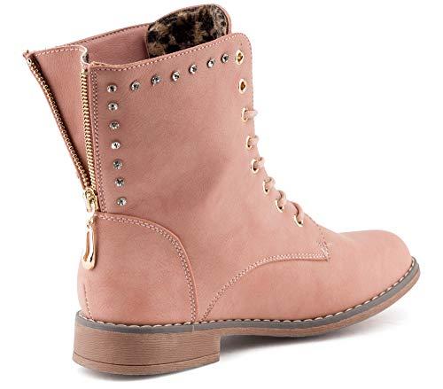 Fusskleidung Damen Stiefeletten Biker Boots Schnür Stiefel Strass Schuhe Potsdam/Pink/leichtgefüttert EU 37