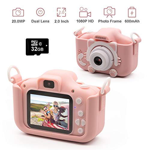 "Kids Digital Camera Child Camcorder, Girls Birthday Toy Gifts for 4-13-Year-Old Children, Update Dual Cameras 20.0MP Toddler Video Recorder 1080P IPS 2"" Screen with 32G TF Card, Cat Soft Silicone Case"