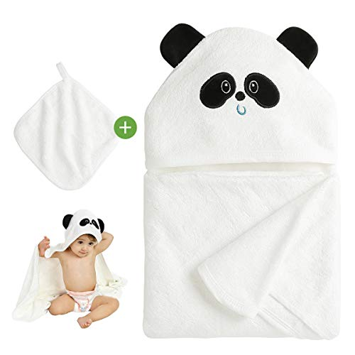 Homealexa Baby Kapuzenbadetuch - Ultra-Weiche Baby Badehandtuch 100{e8252fabf5f8900ccb0879453edf72bc5f0439d64c250deb85331e997f7b5d06} Bio-Bambus - Hypoallergenes Babyhandtuch Perfekt für Jungen und Mädchen, 90 x 90 CM