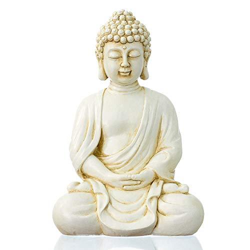 """dharma emporium Buddha Statue, Antique Finish, 8"""", Meditating, Seated Amitābha (Antique White)"""