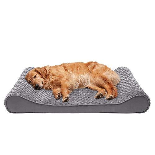 Furhaven Pet Dog Bed - Orthopedic Ultra Plush Faux Fur Ergonomic Luxe Lounger Cradle Mattress...