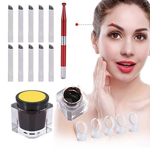 Permanent 3D Make-up Augenbraue Tattoo Nadeln Stifte Pigment Set, Augenbrauen Microblading Pen +Tattoo Pigment+ Pigmentringe+ 12 Pins Klingen Nadeln (Style B)