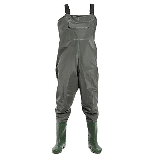 SurePromise Pantalon Cuissard avec Bottes de Peche pecheur Impermeable Pluie vasiere etang (45)