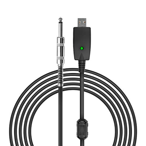 """USB Guitar Cable, VAlinks USB Interface Male to 6.35mm 1/4"""" Mono Male Electric Guitar Cable, Computer Audio Connector Cord Adapter for Music Instrument Recording Singing Etc (3m/10ft)"""