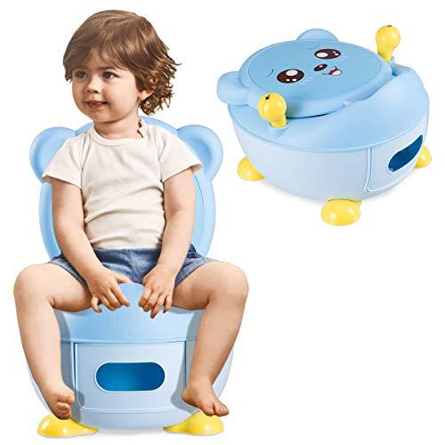 COSTWAY Pot d'Apprentissage Pot Bébé Siège de Toilette Enfant Trainer Pot WC pour l'apprentissage de la propreté 33 x 34 x 44 cm (Bleu)