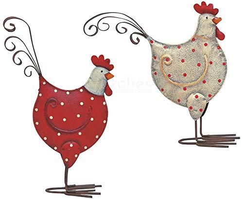 matches21 Hühner/Hennen Dekofiguren Ostern Frühlingsdeko Figuren Metall in weiß & rot mit Punkten 2er Set sort 14x16 cm