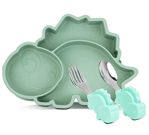 Silicone Suction Plate for Toddlers with Fork Spoon Set - Self Feeding Training Divided Plate Dish and Bowl for Baby and Toddler, Fits for Most Highchairs Trays (Dino Green)