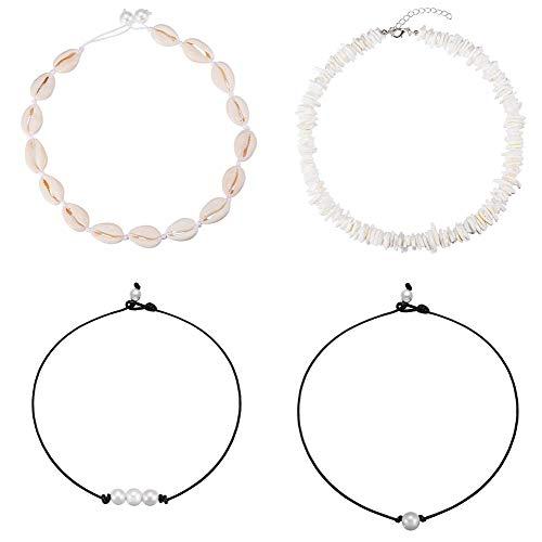 QX-Jewelry Pendientes de aro de perlas de concha de vaca natural, pendientes de gota bohemia hawaiana Wakiki playa, joyería de oro