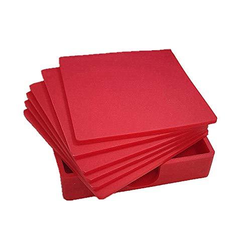 YUKAKI Sottobicchieri in Silicone Rettangolare, per Bevande, Tazze, Bar, Vetro, di Alta qualità, Set da 6 (Rosso)