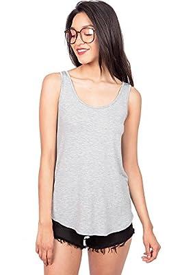Emmas Closet Emma's Closet Women's Basic Stretchy Tank Top, USA Made (Medium, Heather Grey)