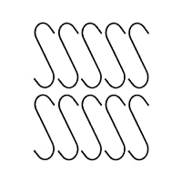 10pc Heavy-Duty 5 Steel S-Hooks Rust-Resistant Black Oxide Finish - Great for Hanging Plants
