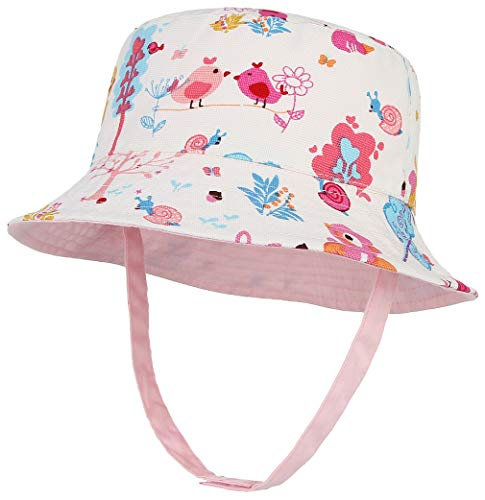 Cloudkids - Sombrero para bebé, niña, verano, protección UV, UPF50+ de algodón, doble cara, protección para viajes, camping, playa