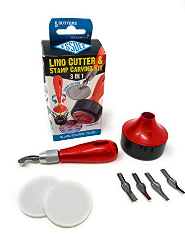 ESSDEE L5B2D Lino-Juego de cortadores y Sellos (3 en 1), Multicolor, 65, 137, 60, Unidades