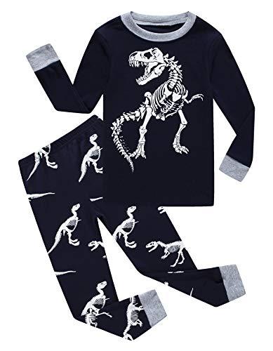 KikizYe Dinosaur Big Boys Long Sleeve Pajamas 100% Cotton Sleepwear Size 10
