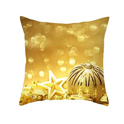Deloito Weihnachten Golden Kissenbezug Glitter Polyester Kaschmir Christmas Pillowcase Sofa Auto Schlafzimmer Home Decor Quadrat Kissenhülle (H,45x45cm)