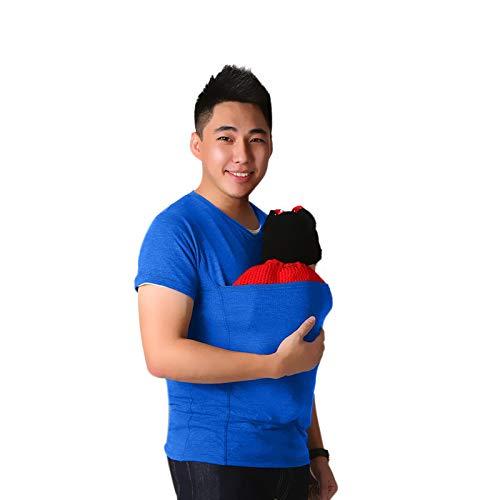 XIAOLONGWANG Kangaroo Dad Shirts Kostenlose Haut-Zu-Haut-Tasche New Dad Soft Comfortable Baby Carrier Tank Top 5XL blau
